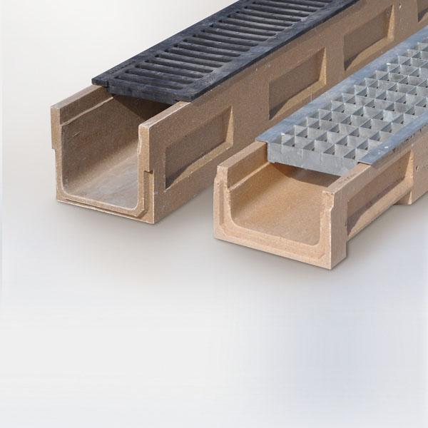 Canales hormigón polímero drenaje rejillas metálicas sobreponer