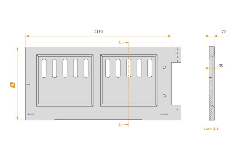 Frontal para puerta de hormigón
